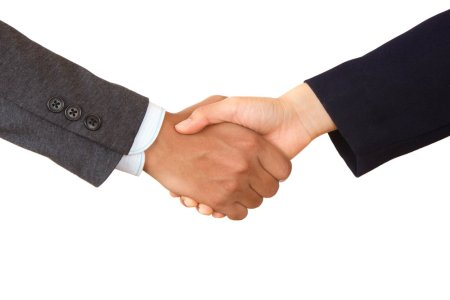 Business Handshake of unrecognized company